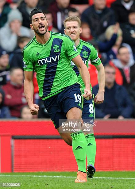 Southampton's Graziano Pelle celebrates after scoring a goal to make it 0-1 during the Barclays Premier League match between Stoke City and...