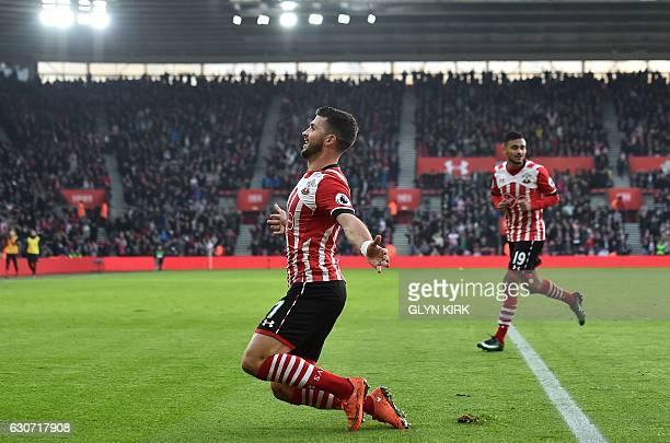 Southampton's Irish striker Shane Long celebrates scoring his team's first goal during the English Premier League football match between Southampton...