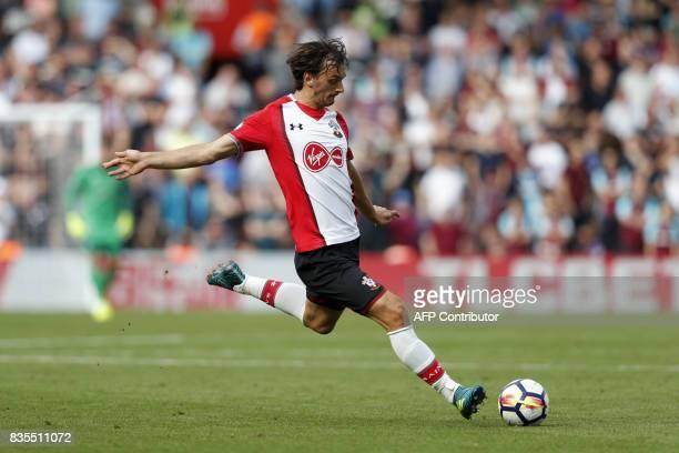 Southampton's Italian striker Manolo Gabbiadini controls the ball during the English Premier League football match between Southampton and West Ham...
