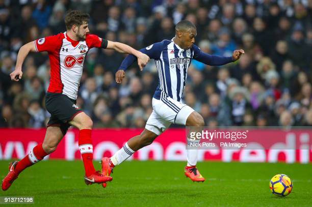 Southampton's Jack Stephens and West Bromwich Albion's Daniel Sturridge battle for the ball during the Premier League match at The Hawthorns West...