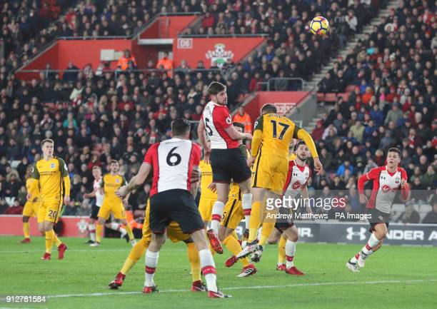 Southampton's Jack Stephens heads towards goal during the Premier League match at St Mary's Southampton