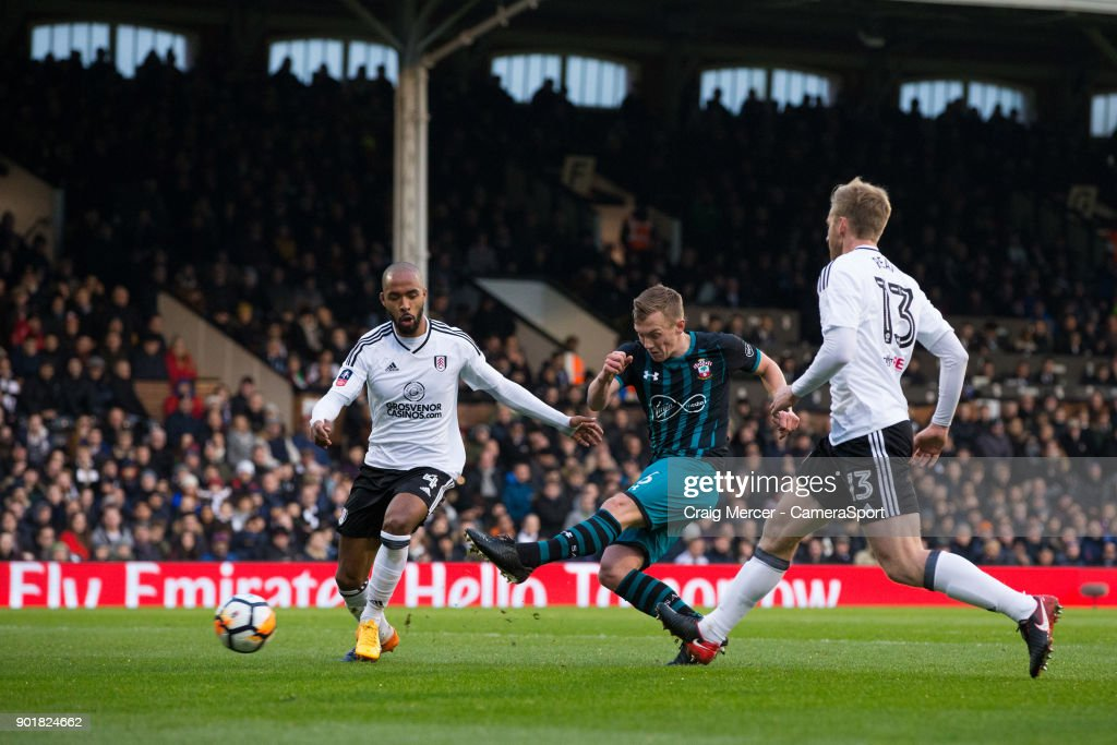 Southampton's James Ward-Prowse scores the opening goal during the Emirates FA Cup Third Round match between Fulham and Southampton at Craven Cottage on January 6, 2018 in London, England.