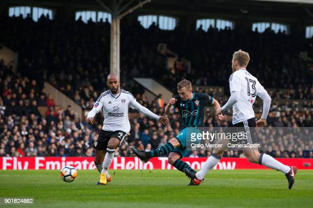 Southampton's James WardProwse scores the opening goal during the Emirates FA Cup Third Round match between Fulham and Southampton at Craven Cottage...