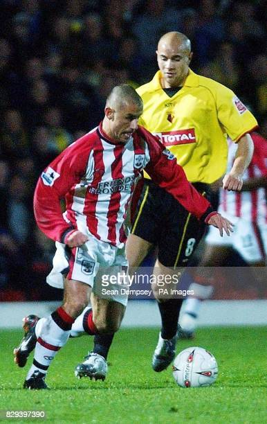 Southampton's Kevin Phillips attempts to go past Watford's Gavin Mahon during the Carling Cup 4th round match at Vicarage Road Watford THIS PICTURE...