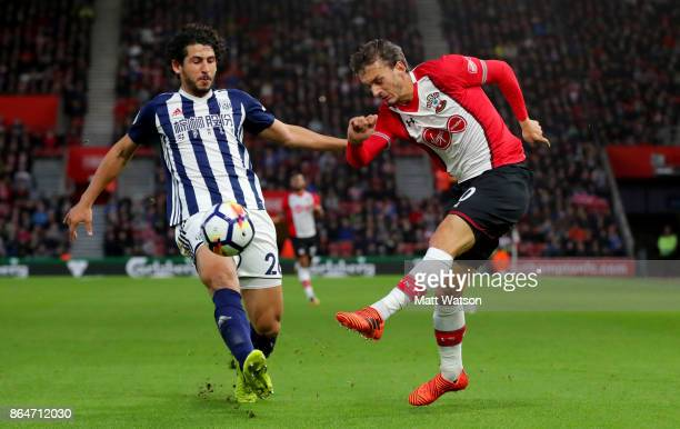 Southampton's Manolo Gabbiadini and Ahmed Hegazi during the Premier League match between Southampton and West Bromwich Albion at St Mary's Stadium on...