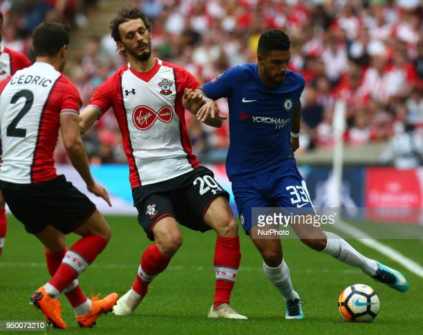 LR Southampton's Manolo Gabbiadini and Chelsea's Emerson Paimieri during the FA Cup semifinal match between Chelsea and Southampton at Wembley London...