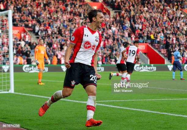Southampton's Manolo Gabbiadini during the Premier League match between Southampton and Newcastle United at St Mary's Stadium on October 15 2017 in...