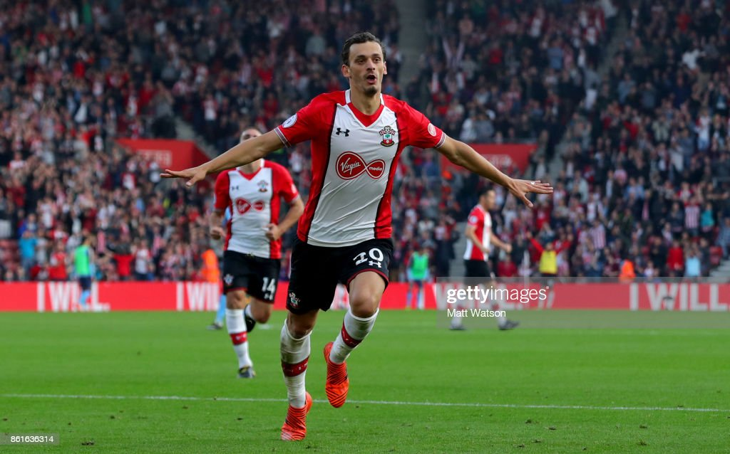 Southampton's Manolo Gabbiaidini celebrates after equalising during the Premier League match between Southampton and Newcastle United at St Mary's Stadium on October 15, 2017 in Southampton, England.