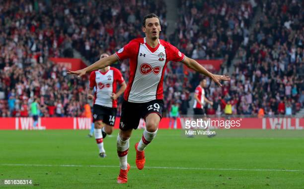 Southampton's Manolo Gabbiaidini celebrates after equalising during the Premier League match between Southampton and Newcastle United at St Mary's...
