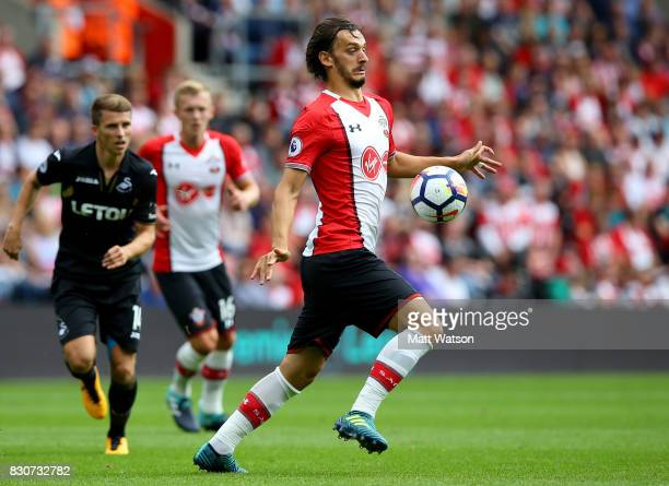 Southampton's Manolo Gabbiaidini during the Premier League match between Southampton and Swansea City at St Mary's Stadium on August 12 2017 in...