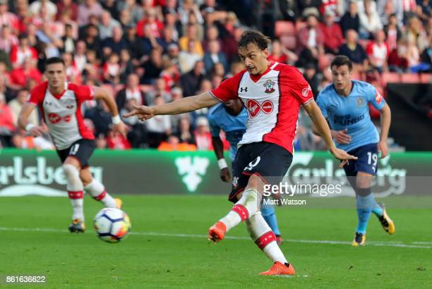 Southampton's Manolo Gabbiaidini scores from the penalty spot during the Premier League match between Southampton and Newcastle United at St Mary's...
