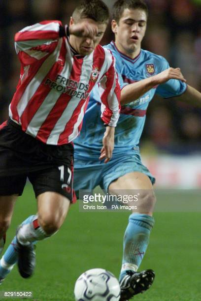 Southampton's Marian Pahars in action against Joe Cole of West Ham during their FA Barclaycard Premiership match at The St Mary's Stadium Southampton...