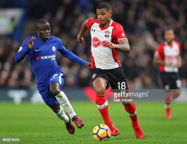 Southampton's Mario Lemina and N'Golo Kante of Chelsdea during the Premier League match between Chelsea and Southampton at Stamford Bridge on...