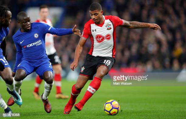 Southampton's Mario Lemina and N'Golo Kante of Chelsea during the Premier League match between Chelsea and Southampton at Stamford Bridge on December...