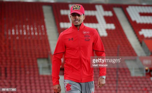 Southampton's Mario Lemina arrives ahead of the Premier League match between Southampton and Leicester City at St Mary's Stadium on December 13 2017...