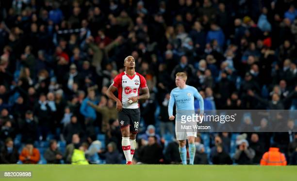 Southamptonâs Mario Lemina during the Premier League match between Manchester City and Southampton at the Etihad Stadium on November 29 2017 in...