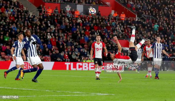Southampton's Maya Yoshida attempts an over head kick during the Premier League match between Southampton and West Bromwich Albion at St Mary's...