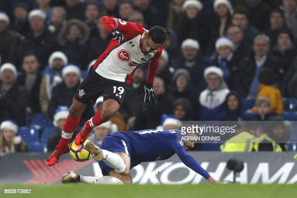 Southampton's Moroccan midfielder Sofiane Boufal is tackled by Chelsea's Italian defender Davide Zappacosta during the English Premier League...