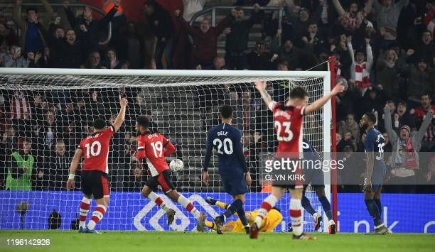 Southampton's Moroccan midfielder Sofiane Boufal runs to celebrate after scoring a late equaliser during the English FA Cup fourth round football...