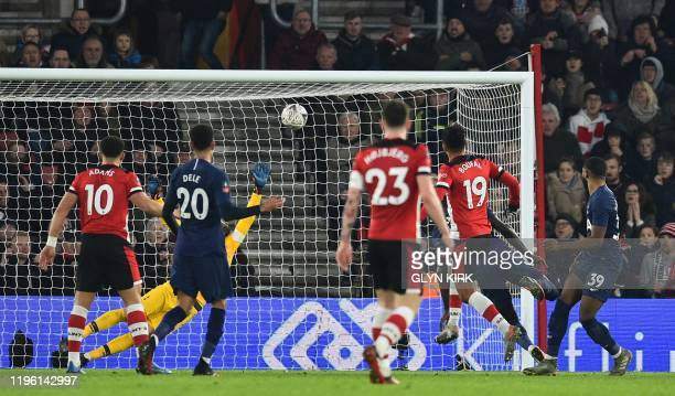 Southampton's Moroccan midfielder Sofiane Boufal shoots to score a late equaliser during the English FA Cup fourth round football match between...