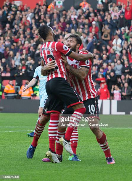 Southampton's Nathan Redmond celebrates his goal with Southampton's Charlie Austin during the Premier League match between Southampton and Burnley at...