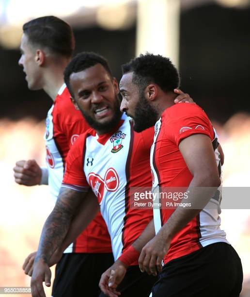 Southampton's Nathan Redmond celebrates scoring his side's first goal of the game with teammate Ryan Bertrand during the Premier League match at...
