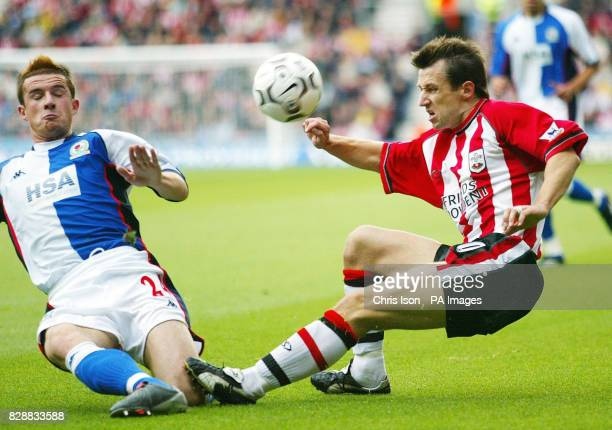 Southampton's Neil McCann has his cross blocked by Barry Ferguson of Blackburn Rovers during their Barclaycard Premiership match at St Mary's Stadium...