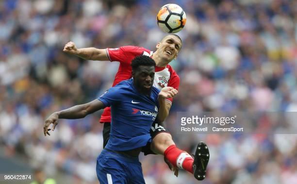 Southampton's Oriol Romeu and Chelsea's Tiemoue Bakayoko during the Emirates FA Cup Semi Final match between Chelsea and Southampton at Wembley...