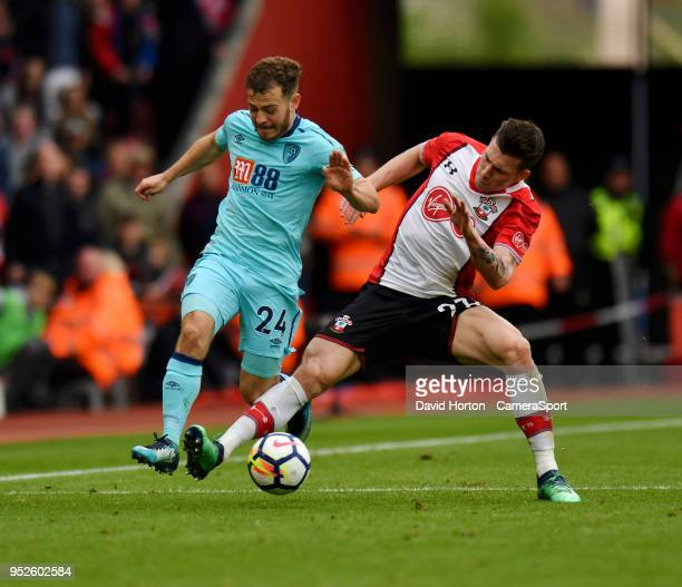 Southampton's PierreEmile Hojbjerg battles with Bournemouth's Ryan Fraser during the Premier League match between Southampton and AFC Bournemouth at...