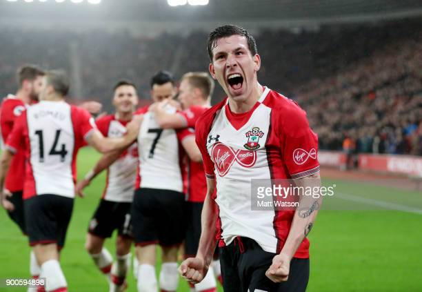 Southampton's PierreEmile Hojbjerg celebrates during the Premier League match between Southampton and Crystal Palace at St Mary's Stadium on January...