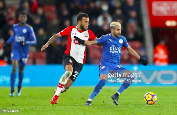 Southampton's Ryan Bertrand and Leicester City's Riyad Mahrez battle for the ball during the Premier League match at St Mary's Stadium Southampton