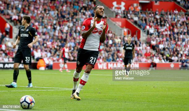 Southampton's Ryan Bertrand left frustrated during the Premier League match between Southampton and Swansea City at St Mary's Stadium on August 12...