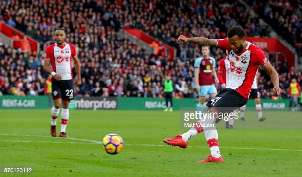 Southampton's Ryan Bertrand shoots at goal during the Premier League match between Southampton and Burnley at St Mary's Stadium on November 4 2017 in...