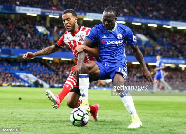 Southampton's Ryan Bertrand tackles Chelsea's Victor Moses during the Premier League match between Chelsea and Southampton at Stamford Bridge London...