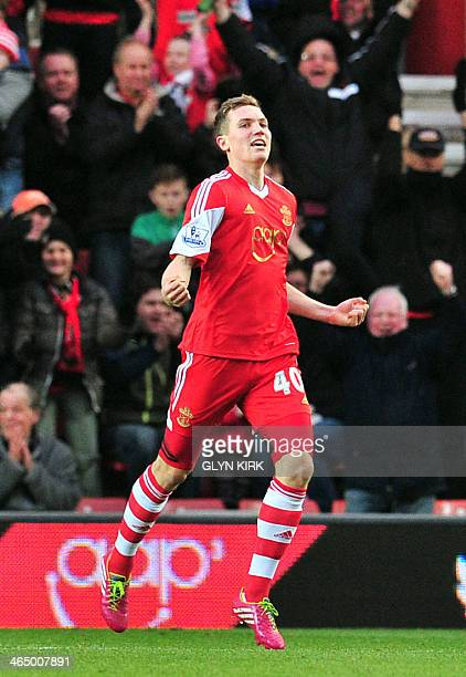 Southampton's Scottish striker Sam Gallagher celebrates scoring their second goal during the English FA Cup fourth round football match between...