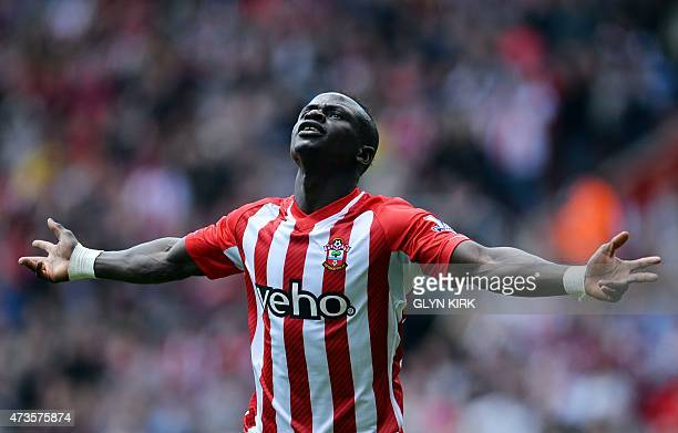 Southampton's Senegalese midfielder Sadio Mane celebrates after scoring his first goal during the English Premier League football match between...