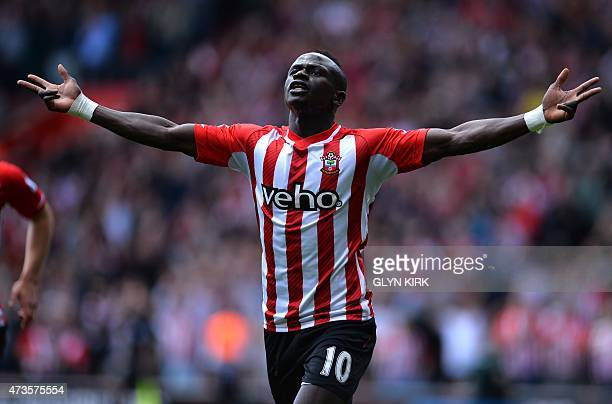 Southampton's Senegalese midfielder Sadio Mane celebrates after scoring during the English Premier League football match between Southampton and...