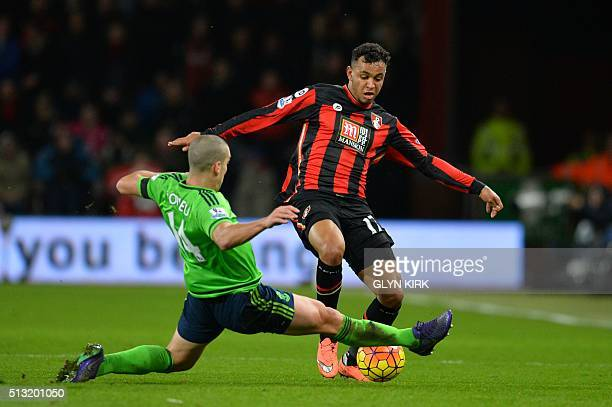 Southampton's Sepanish midfielder Oriol Romeu tackles Bournemouth's Norwegian striker Joshua King during the English Premier League football match...