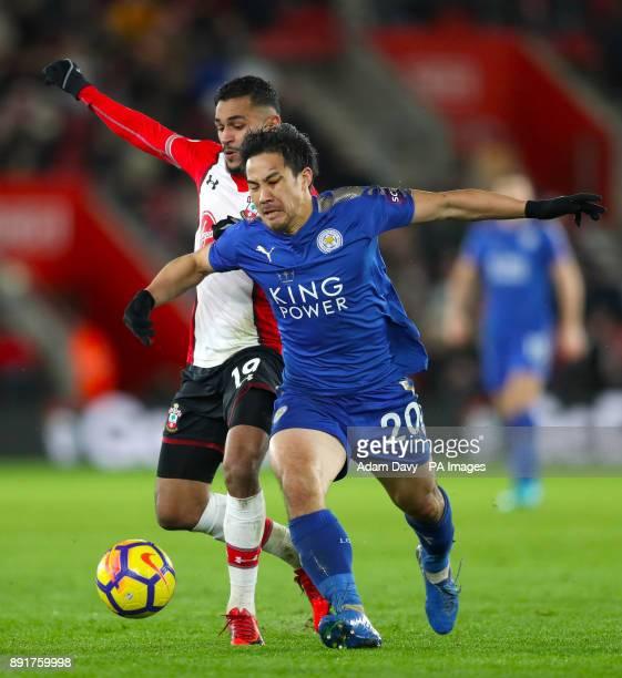 Southampton's Sofiane Boufal and Leicester City's Shinji Okazaki battle for the ball during the Premier League match at St Mary's Stadium Southampton
