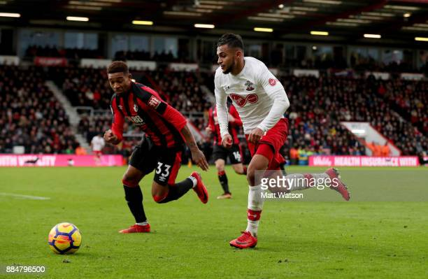 Southampton's Sofiane Boufal takes on Jordan Ibe during the Premier League match between AFC Bournemouth and Southampton at the Vitality Stadium on...
