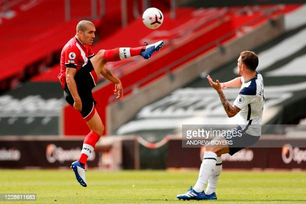 Southampton's Spanish midfielder Oriol Romeu vies with Tottenham Hotspur's Danish midfielder PierreEmile Hojbjerg during the English Premier League...
