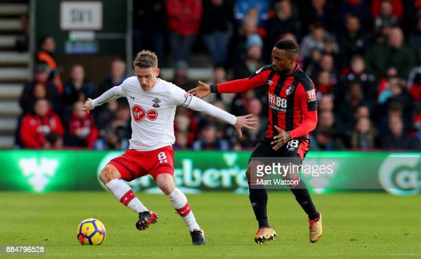 Southampton's Steven Davis and Jermaine Defoe during the Premier League match between AFC Bournemouth and Southampton at the Vitality Stadium on...