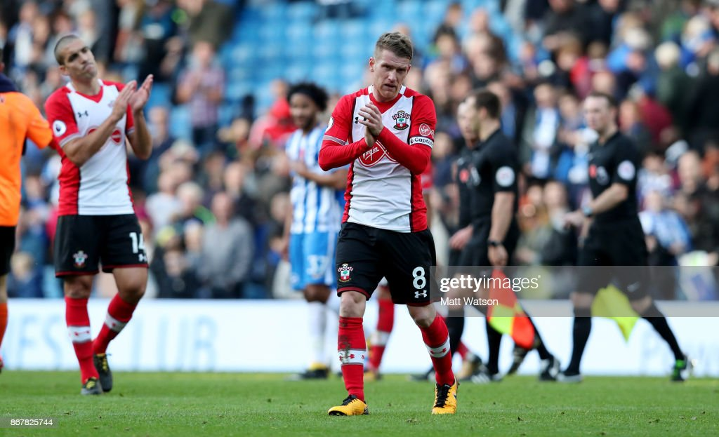 Southampton's Steven Davis during the Premier League match between Brighton and Hove Albion and Southampton at the Amex Stadium on October 28, 2017 in Brighton, England.