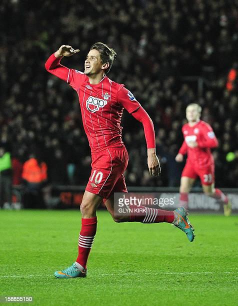 Southampton's Uruguayan midfielder Gaston Ramirez celebrates scoring the opening goal of the English Premier League football match between...