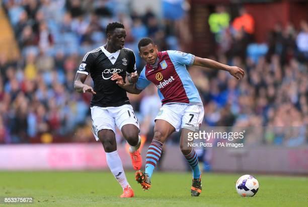 Southampton's Victor Wanyama and Aston Villa's Leandro Bacuna battle for the ball