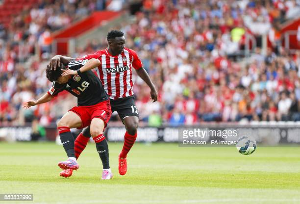 Southampton's Victor Wanyama and Bayer Leverkusen's HeungMin Son during the preseason friendly at St Mary's Southampton
