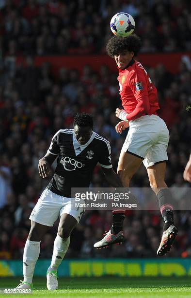 Southampton's Victor Wanyama and Manchester United's Marouane Fellaini battle for the ball