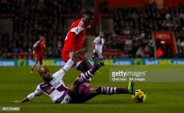 Southampton's Victor Wanyama is challenged by Aston Villa's Fabian Delph during the Barclays Premier League match at St Mary's Southampton