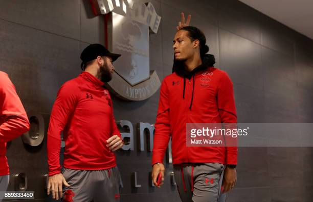 Southampton's Virgil Van Dijk ahead of the Premier League match between Southampton and Arsenal at St Mary's Stadium on December 10 2017 in...