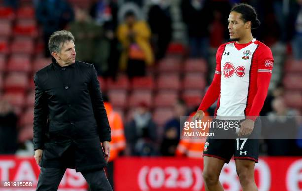 Southampton's Virgil Van Dijk and Claude Puel during the Premier League match between Southampton and Leicester City at St Mary's Stadium on December...
